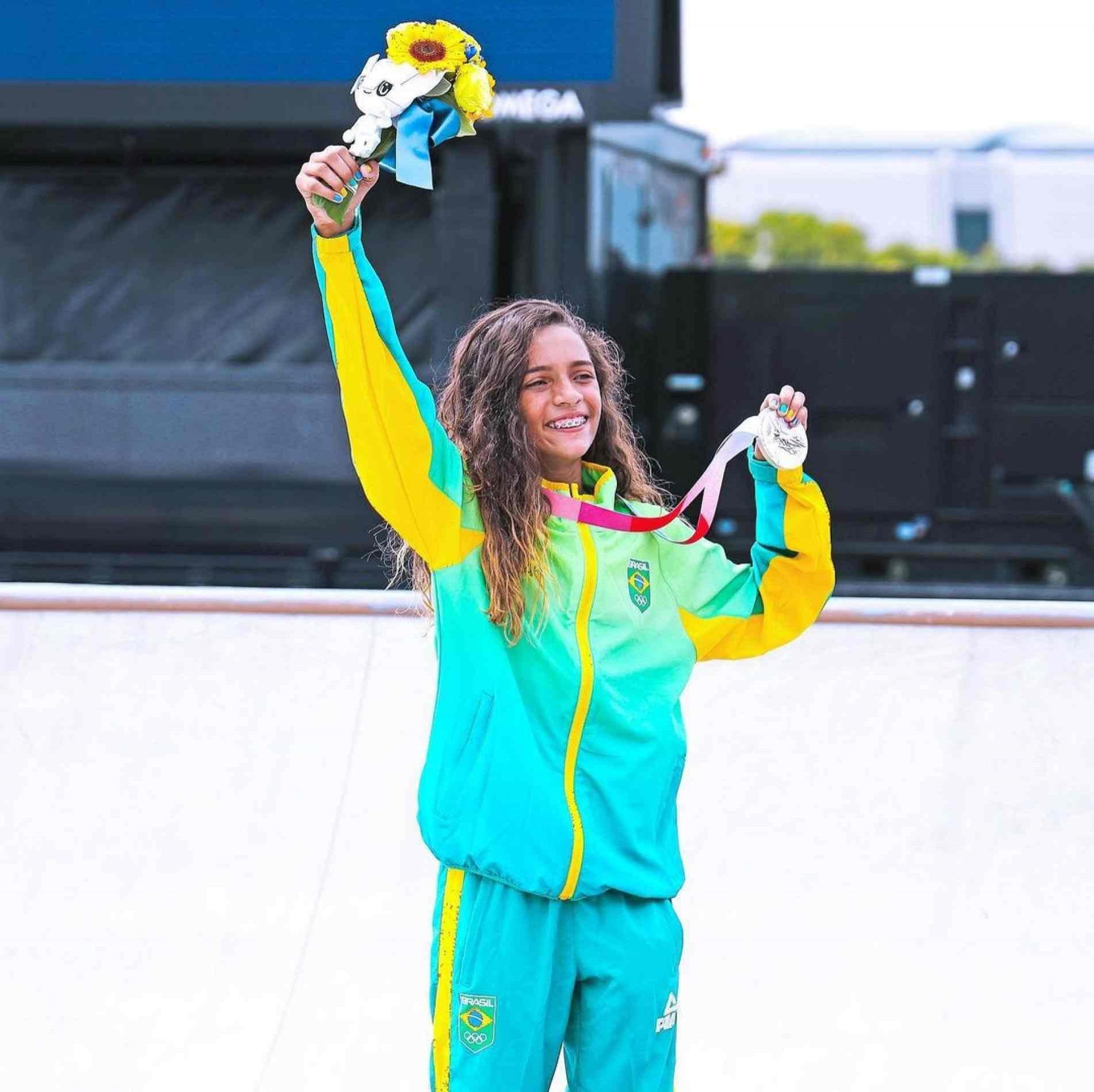 Rayssa Leal, medalha de prata nos Jogos Olímpicos.